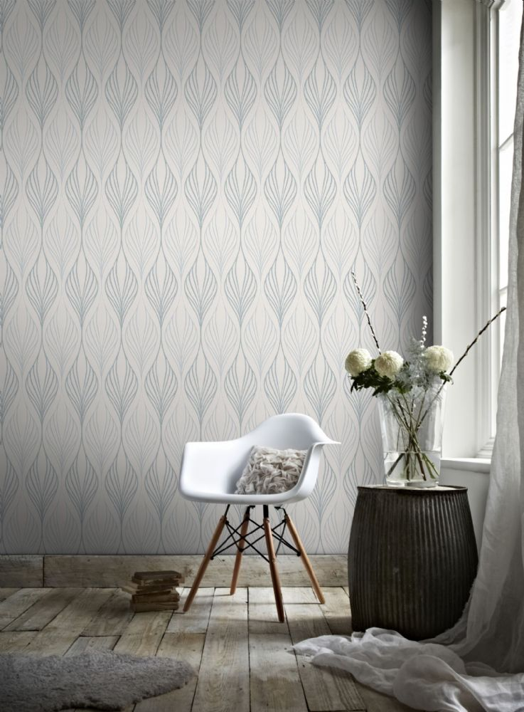 Graham and Brown Optimum White/Duck Egg 100484 Wallpaper